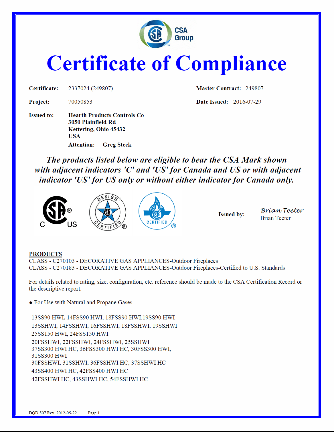 CSA Certification for Listed Fire Pit Kits