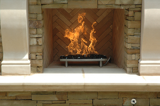 Outdoor Gas Fireplace. Portable Fire Pit. Custom Fireplace Control