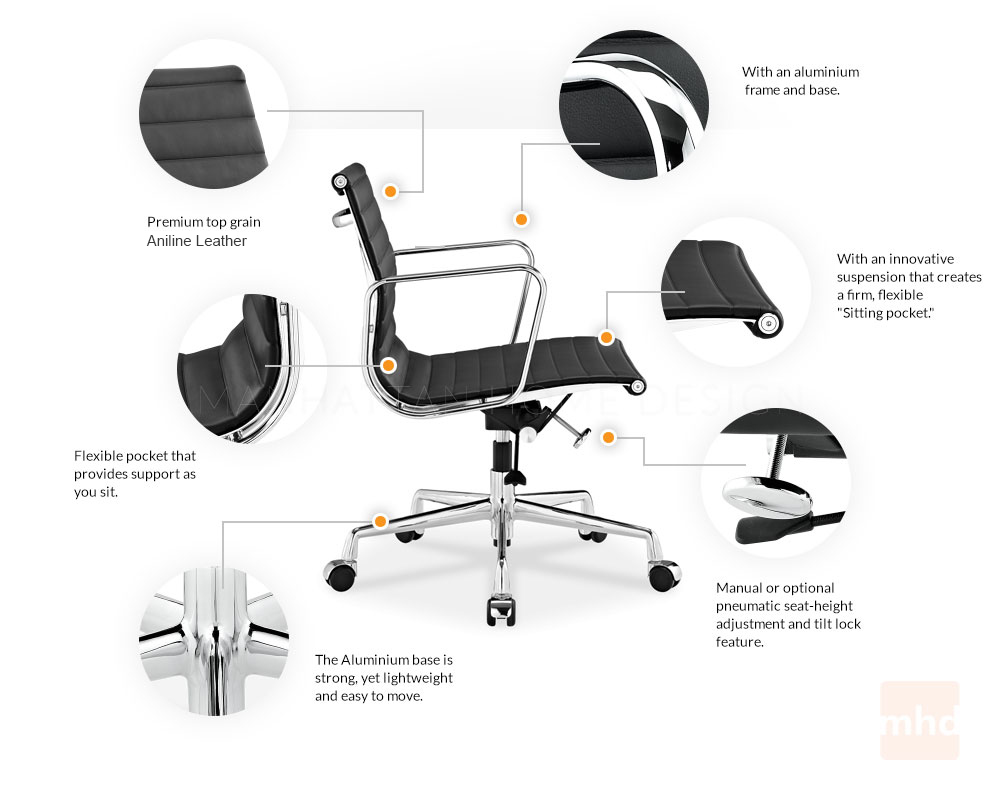 Eames Management Chair Replica - Eames Management Style Chair Features