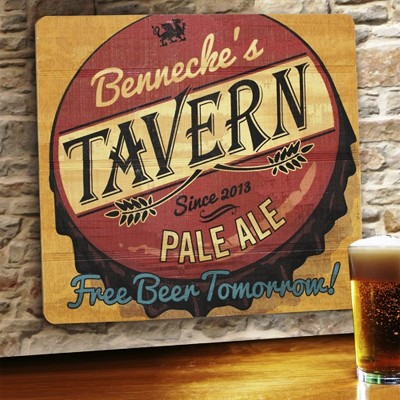 Free Beer Tomorrow Personalized Wood Tavern & Bar Sign