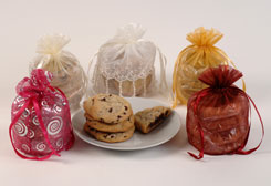 organza bags with plate