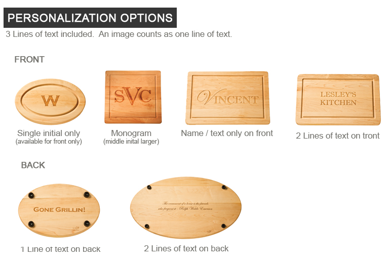 personalized cutting board, options for monogram