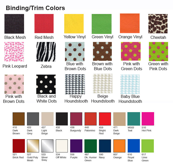 binding for monogrammed car seat protector mats