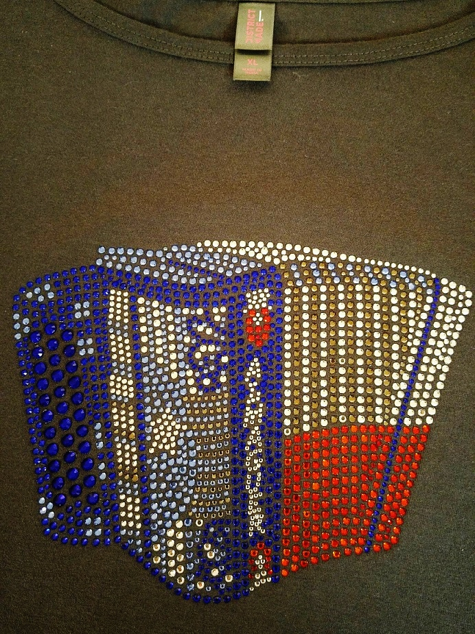 Accordion custom rhinestone shirt