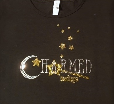 Charmed Medispa custom rhinestone staff shirts