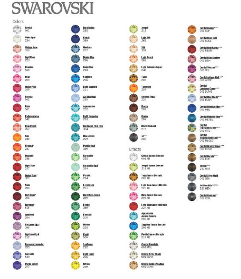 Swarovski crystal color chart