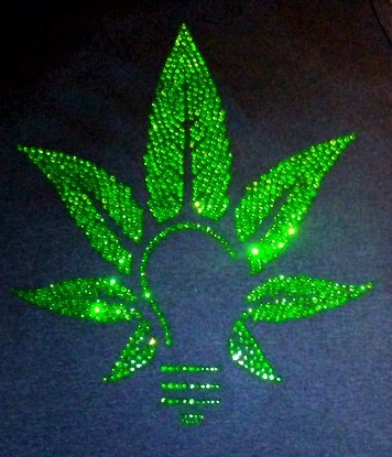 green leaf bling sparkle