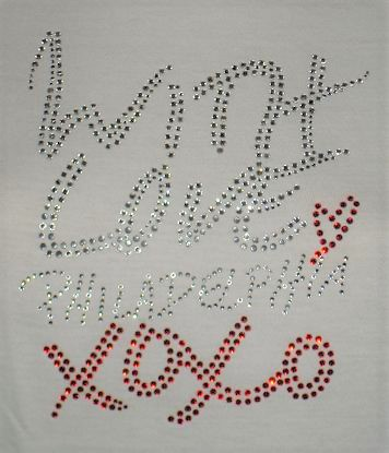 Love Philly custom rhinestone design