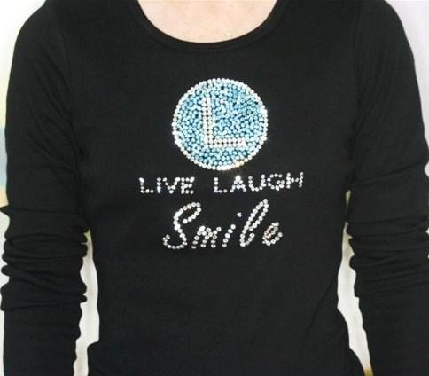 Live Laugh Smile custom Swarovski crystal staff wear shirt