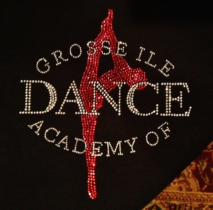 Gross Ile Dance Academy custom rhinestone design