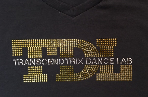 Transcendtrix Dance Lab custom rhinestone design