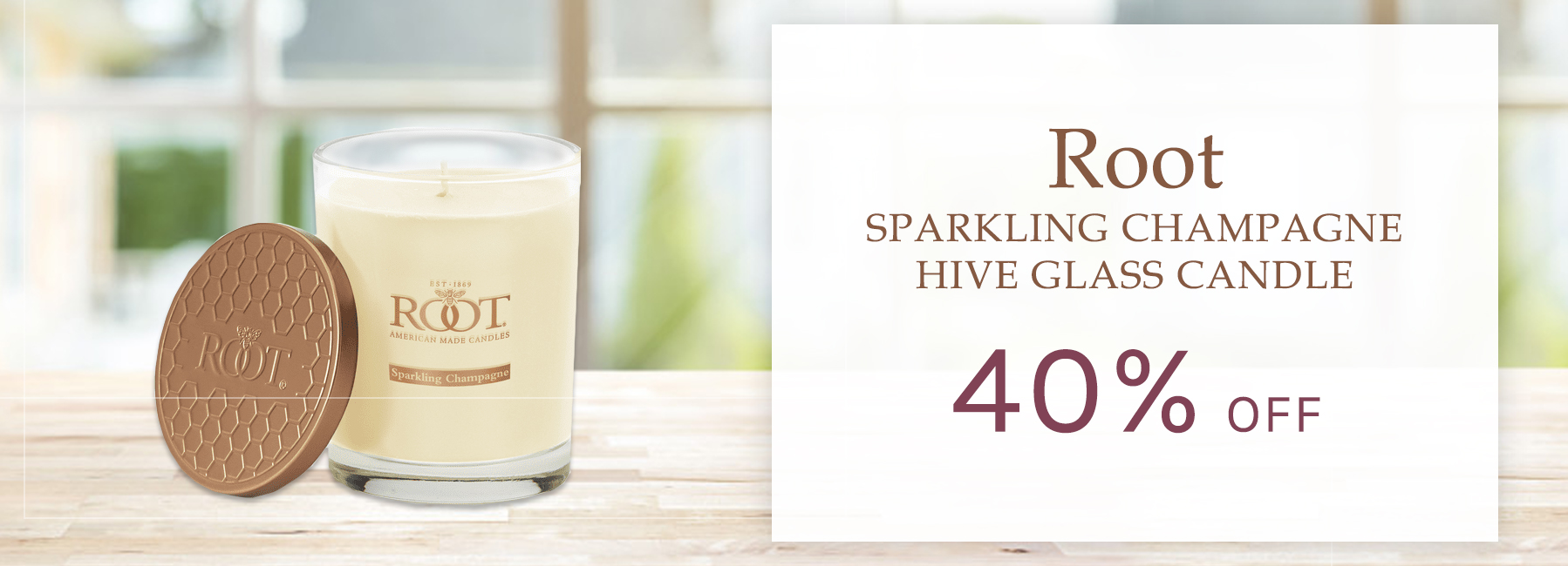 Root - Sparkling Champagne Hive Glass Candle - 40 Percent OFF