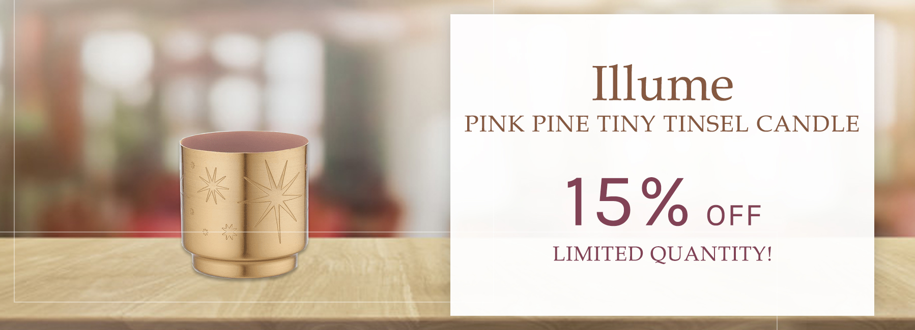 Illume - Pink Pine Tiny Tinsel Candle - 15 Percent OFF