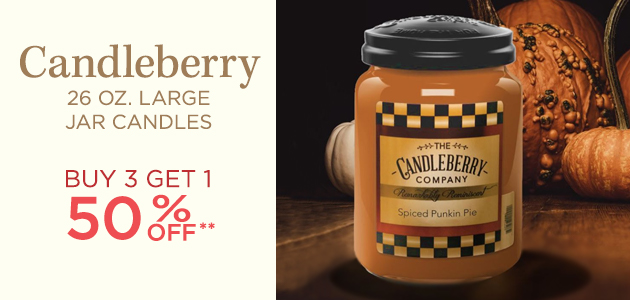 Candleberry - 26 Ounces Large Jar Candles - Buy 3 Get 1 50 Percent OFF**
