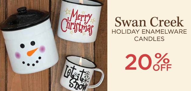 Swan Creek - Holiday Enamelware Candles - 20 Percent OFF