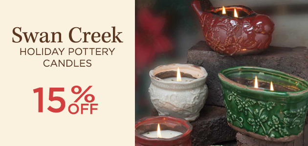 Swan Creek - Holiday Pottery Candles - 15 Percent OFF