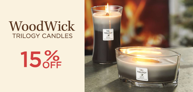 WoodWick - Trilogy Candles - 15 Percent OFF