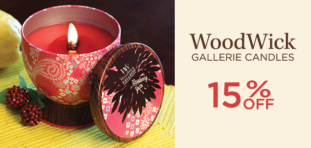 WoodWick - Gallerie Candles - 15 Percent OFF