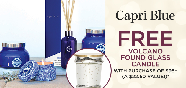 Capri Blue - FREE Volcano Found Glass Candle with Purchase of $95+ - A $22.50 Value