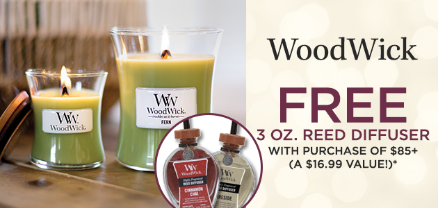 WoodWick - FREE 3 ounce Reed Diffuser with Purchase of $85+ - A $16.99 Value