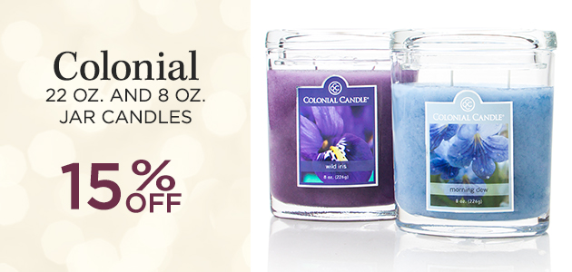 Colonial - 22 ounce and 8 ounce Jar Candles - 15 Percent OFF