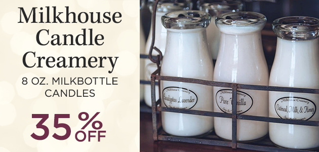 Milkhouse Candle Creamery - 8 ounce Milkbottle Candles - 35 Percent OFF