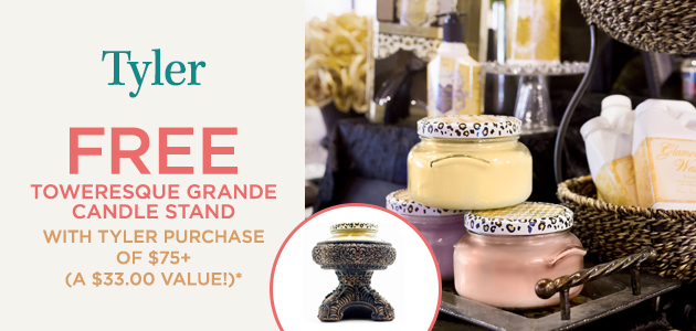 Tyler - FREE Baroque Gold Toweresque Candle Stand with Purchase of $75+ - A $33.00 Value*