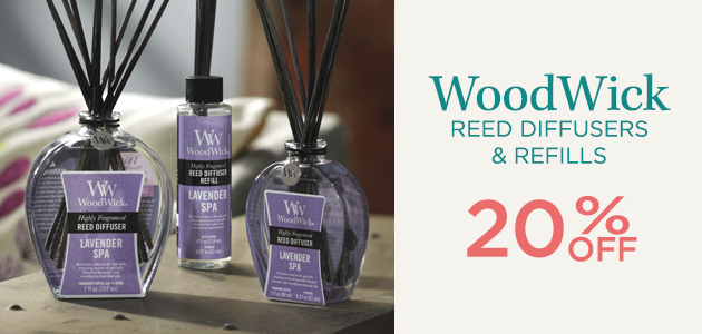 WoodWick - Reed Diffusers and Refills - 20 Percent OFF