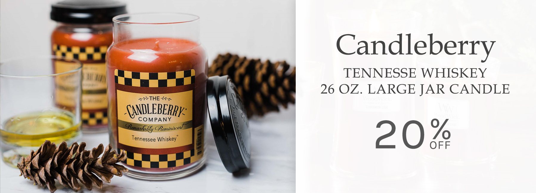 Candleberry - Tennessee Whiskey 26 Ounce Large Jar Candle - 20 Percent OFF