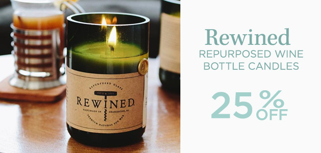 Rewined - Repurposed Wine Bottle Candles - 25 Percent OFF
