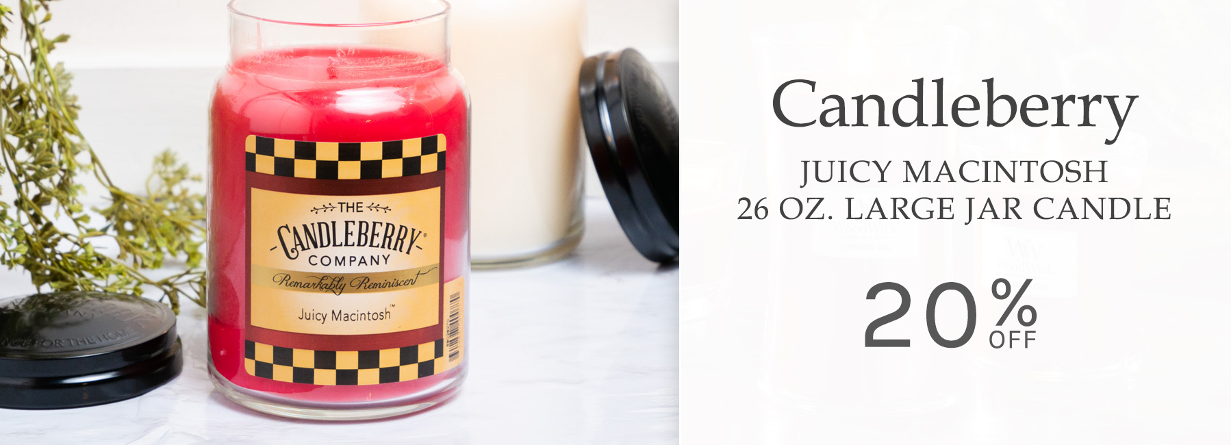 Candleberry - Juicy Macintosh 26 Ounce Large Jar Candle - 20 Percent OFF
