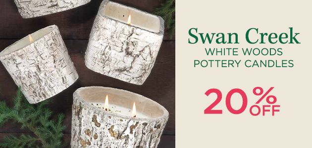 Swan Creek White Woods Pottery Candles - 20 Percent OFF