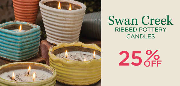 Swan Creek Ribbed Pottery Candles - 25 Percent OFF
