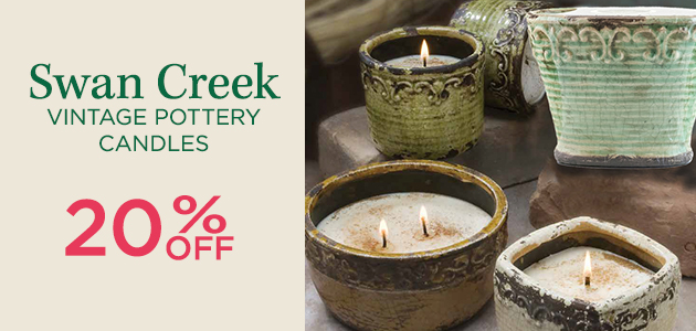 Swan Creek Vintage Pottery Candles - 20 Percent OFF