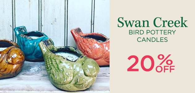 Swan Creek Bird Pottery Candles - 20 Percent OFF