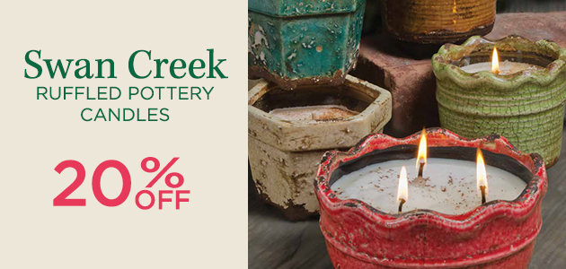 Swan Creek Ruffled Pottery Candles - 20 Percent OFF