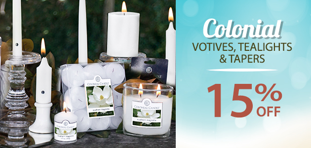 Colonial Votives, Tealights & Tapers  15% OFF