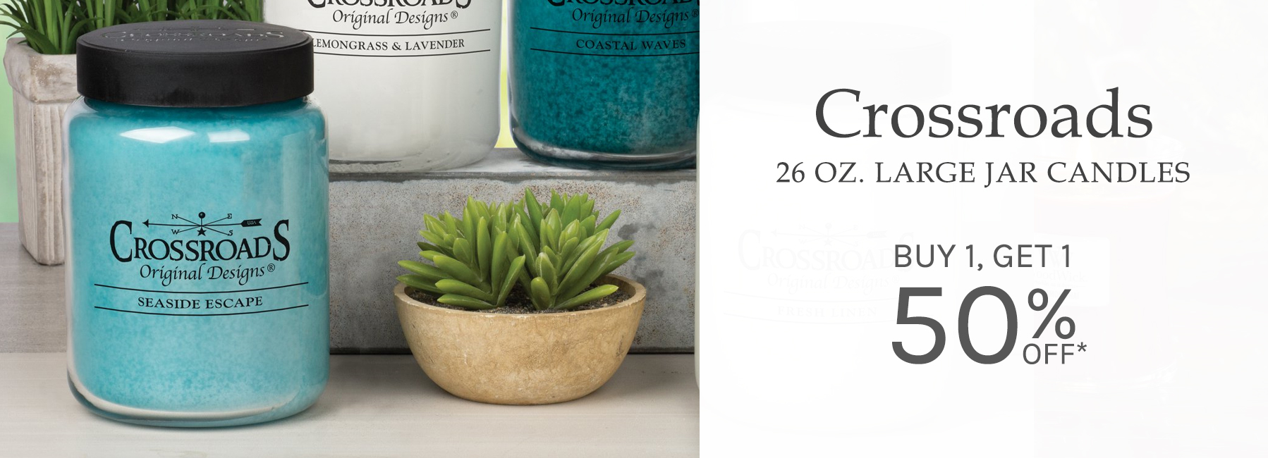 Crossroads - 26 Ounce Large Jar Candles - Buy 1 Get 1 50 Percent OFF