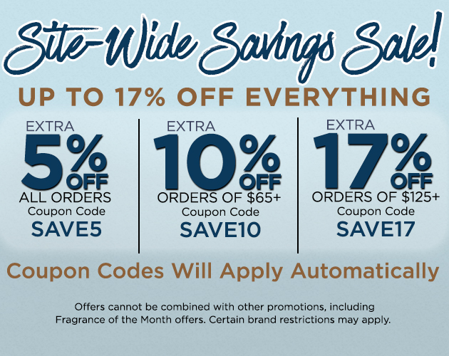 Site-Wide Savings Sale - Up To 17 Percent OFF Everything