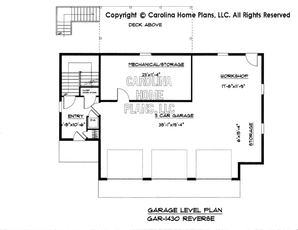 GAR-1430 Reverse Lower Level Garage Plan
