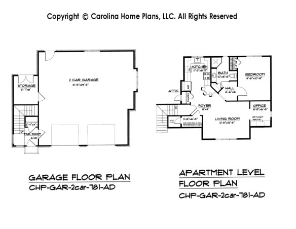 GAR-781 2-Car Garage-Apartment Plan