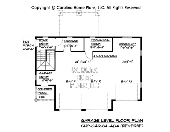 GAR-841 Reverse Lower Level Garage Plan