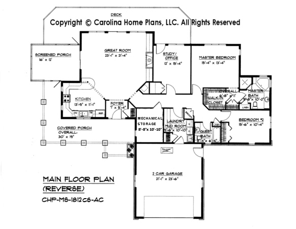 MS-1812 Reverse Main Floor Plan-Crawl/Slab