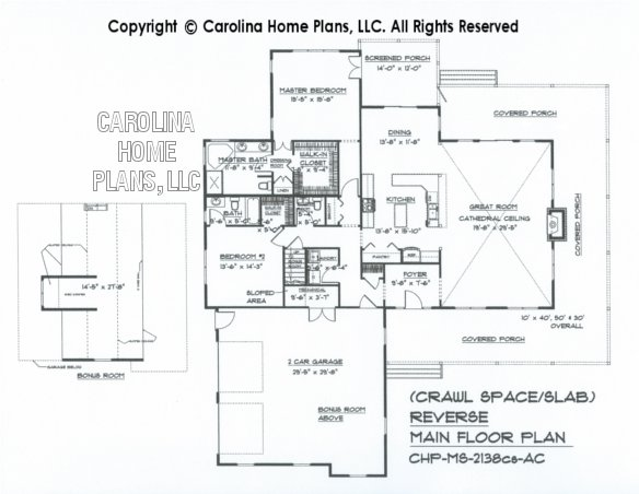 MS-2138 Reverse Main Floor Plan with Bonus Room, crawl/slab