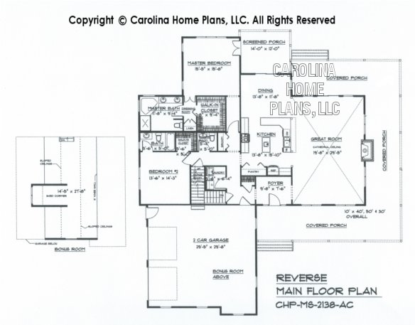 MS-2138 Reverse Main Floor Plan with Bonus Room