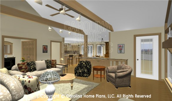 MS-2283-AC 3D Living Room to Foyer and Kitchen