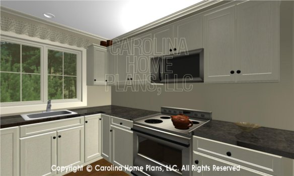 BS-1477-2715 3D Apartment Kitchen, sink and stove