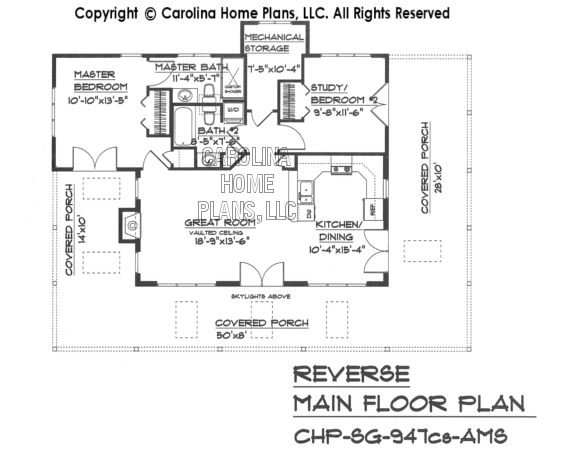 SG-947 Reverse Main Floor Plan-crawl/slab