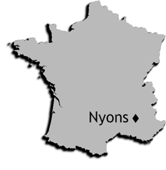 location of Nyons, France.