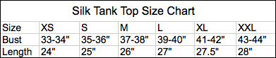 Men's and Women's size charts for Royal Silk® clothing.